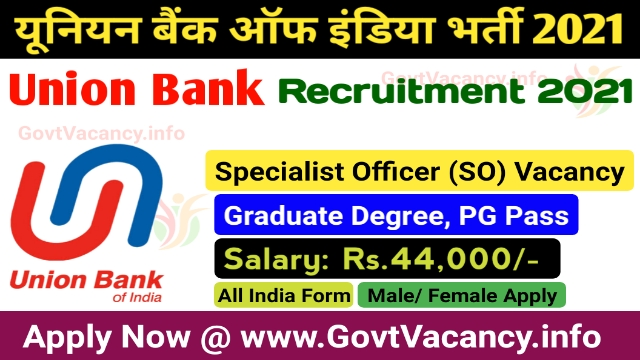 Union Bank of India Specialist Officer Recruitment 2021
